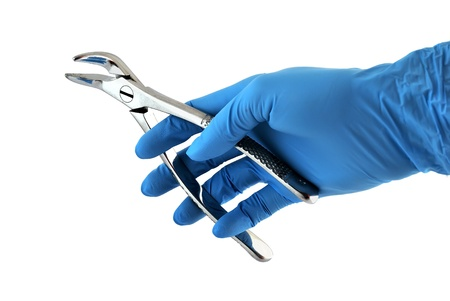 healt: dental forceps in hand on a white background