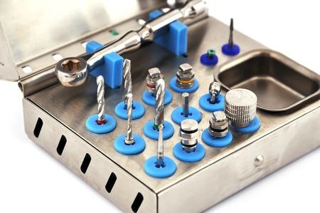Instrument for dental implantology on a white background