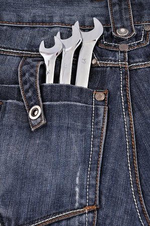 forkwrench: spanners in the back pocket Jeans