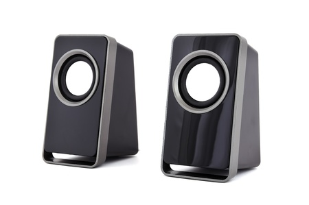 two computer speakers on a white background  photo
