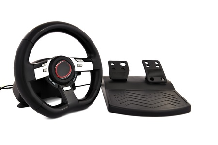 game steering wheel  on a white background Stock Photo - 9518909