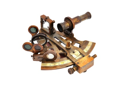 nautical star: old sextant on a white background