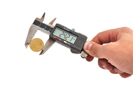 electronic calipers and  money on a white background