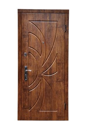 白い背景の上に木製のドア