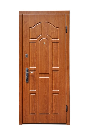 brown door on a white background Imagens