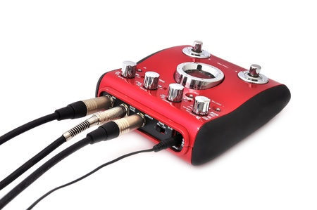 reverb: Guitar multi effects pedal isolated on white Stock Photo