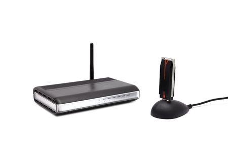 two Wireless router on a white background Stock Photo - 10895037