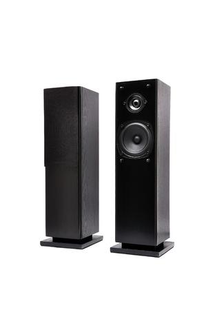 black audio speakers   on a white background Stock Photo - 11411489