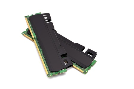 ddr3: two strips of RAM on a white background