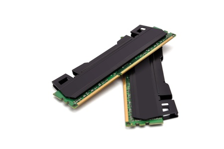 two strips of RAM on a white background photo