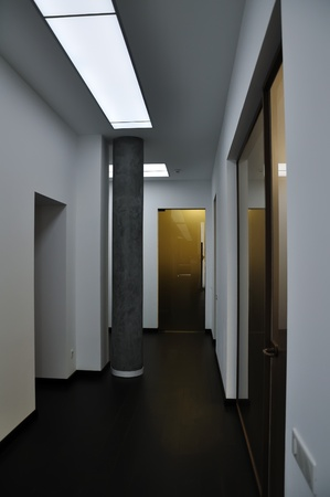 modern corridor in Aparthotel