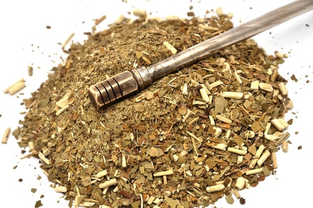 indigenous medicine: argentinian mate  on a white background