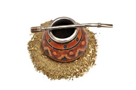 Yerba Mate tea on a white background Stock Photo
