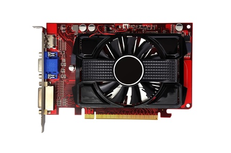 s video: video card on a white background Stock Photo