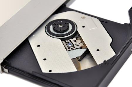 dvd rom: open dvd rom   on white background