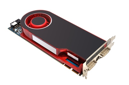 s video: Computer graphic card on white background