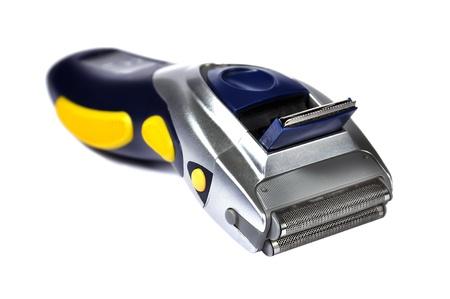 electric shaver: portatile rasoio elettrico su sfondo bianco Archivio Fotografico