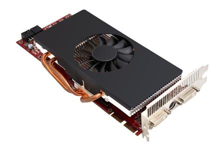 白い背景の上のコンピューターのグラフィック カード