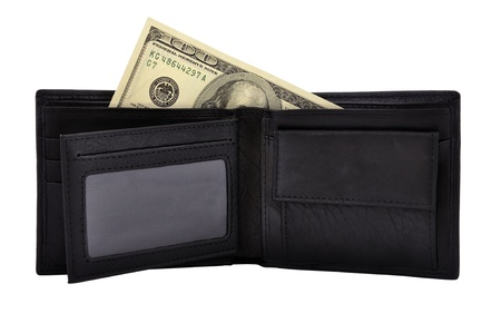 purse and dollars on a white background photo