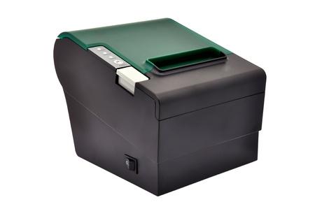 black thermal printer on a white background photo