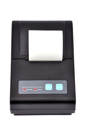 Black printer for fiscal cash register on a white background photo