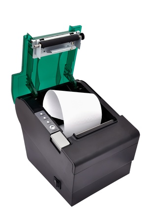 open thermal printer on a white background photo