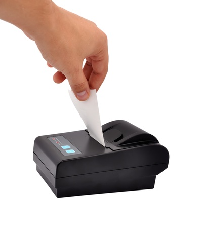 fiscal: printer for fiscal cash register and check Stock Photo