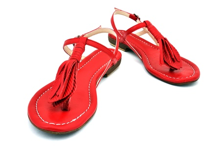 outsole: red womens  sandals with white background