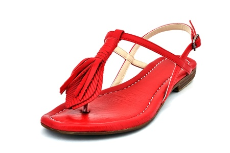 outsole: womens red sandals with white background