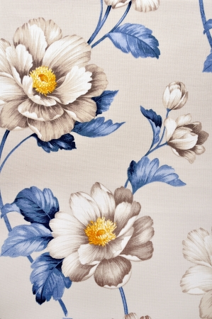 High resolution floral pattern on canvas texture Stock Photo