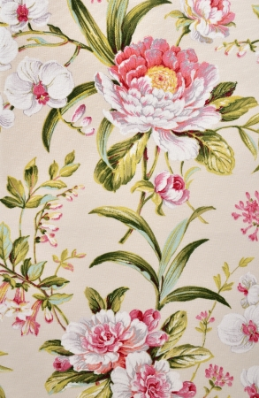 linen fabric: floral pattern on canvas texture