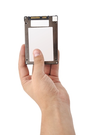ssd  in hand on a white background photo