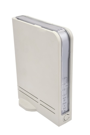 dsl: white wireless router on a white background