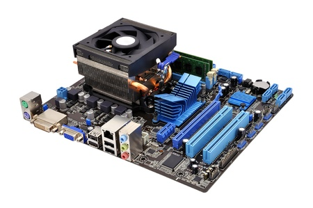 motherboard and cpu on a white background Standard-Bild