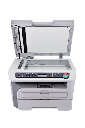 Copier with lid open on a white background photo