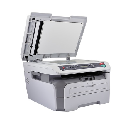 Open scanner on a white background photo