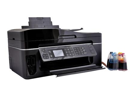 コピー機、連続インク供給白い背景上のシステム 写真素材