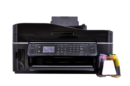 printer and ciss on a white background photo