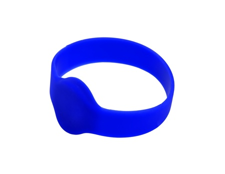 rfid: blue RFID bracelet on a white background Stock Photo