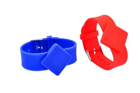rfid: two RFID bracelets on a white background
