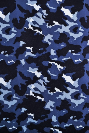 blue camouflage fabric in a vertical orientation