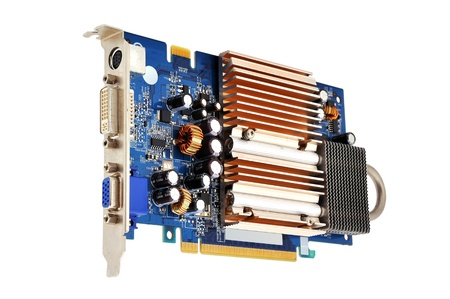 pci card: graphics card with a copper radiator