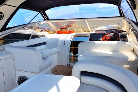 interior of luxury yacht. closeup