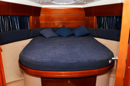 blue bedroom motor yacht, close up
