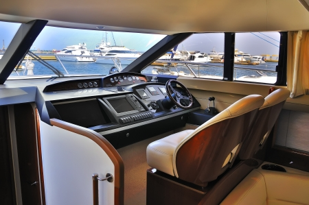 steering wheel yacht close up