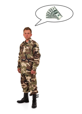 soldier in camouflage  thinks of money photo