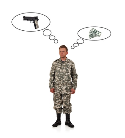 man in camouflage  thinks of gun and money photo