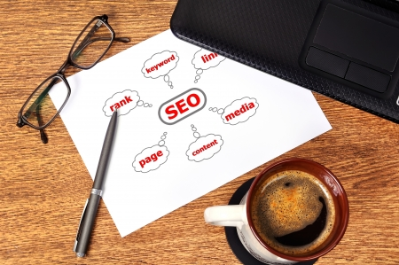 Note graph seo on table businessman Stock Photo - 15330197