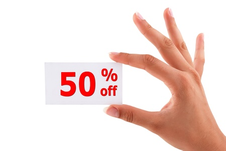 discount of 50 percent in hand on white background Stock Photo - 15523092