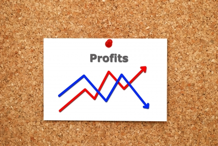 Note chart profits on cork  board Stock Photo - 15523164